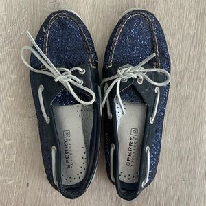 Never worn blue sparkly sperrys